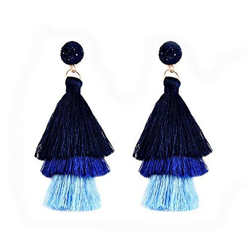 Junxin Colorful Tassel Earrings Bohemian Dangle Drop Tiered Tassel Long Stud Earrings Gift For Women And Girls