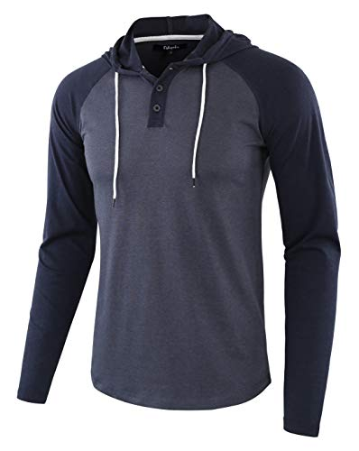 Estepoba Mens Casual Athletic Fit Lightweight Active Sports Jersey Shirt Hoodie Cadet Blue/Navy M