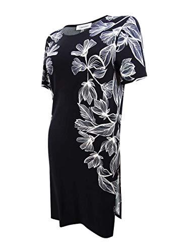 Calvin Klein Womens Floral Crew Neck Pullover Top B/W L Black/White (Calvin Klein Print Pullover)