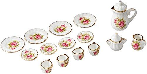 15pcs Dollhouse Miniature Ware Tea Set Dish Cup Plate