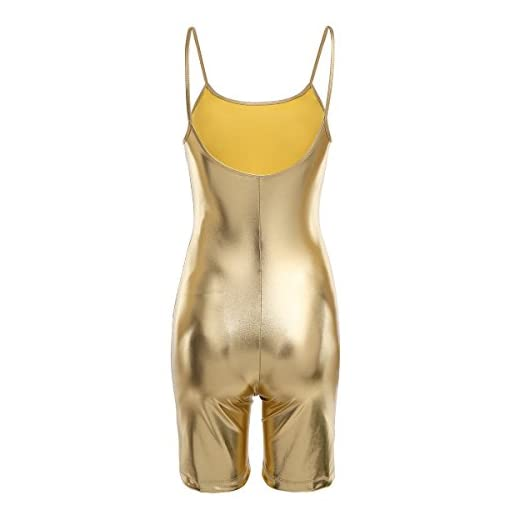 Feeshow Women One Piece Shiny Patent Leather Spaghetti Stretch Short Leotard Jumpsuit Bodysuit