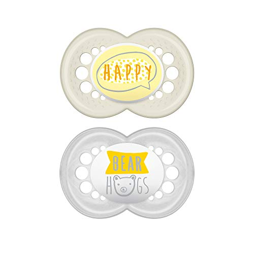 MAM Pacifiers, Baby Pacifier 6+ Months, Best Pacifier for Breastfed Babies, Attitude Design Collection, Unisex, 2-Count