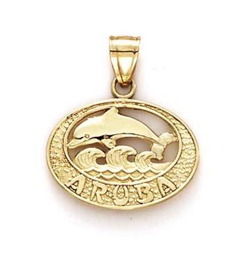 Aruba-Pendentif 14 Carats Dauphins-JewelryWeb