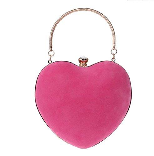de Main Sac Cœur 120cm Femme de soirée avec rose chaîne 16X25X8cm Mariage Longue KeavyLee d'embrayage Bleu Sac à Yfxpnx