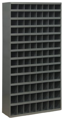 Durham 740-95 Cold Rolled Steel Opening Parts Tall Bin Cabinet with Slope Shelf Design,  12'' Length x 33-3/4'' Width x 64-1/2'' Height,  104 Opening Bins,  Gray Powder Coated Finish by Durham