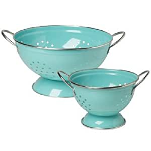 2 Piece Stainless Steel Colander Set Color: Turquoise