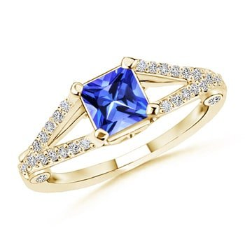 Tanzanite Square Ring (December Birthstone - Split Shank Square Tanzanite Ring for Women with Diamond Accents in 14K Yellow Gold (5mm Tanzanite))