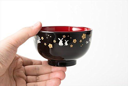 Asahi Kyouyou Rossa Giapponese zuppiera,Nero Ciotole con Seduta Conigli e Fiori per Il Riso,Zuppe 5 Ciotole etc...