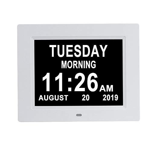 [Auto-Dim Options] Digital Day Calendar Clock Non-Abbreviations & 8 Alarms Dementia Alzheimer Impaired Vision Memory Loss Clock for Senior Elderly