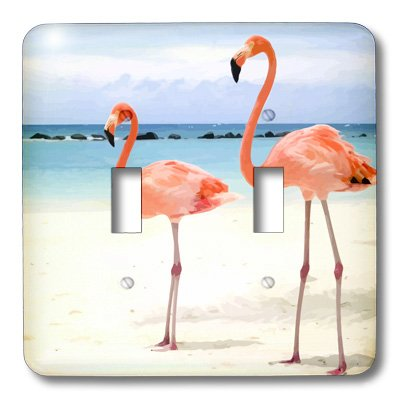 3dRose LLC lsp_20551_2 Flamingo Honeymoon Double Toggle Switch