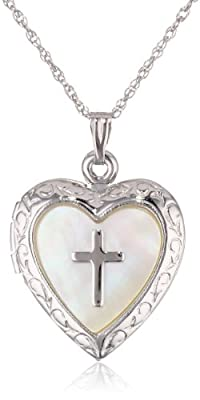 Sterling Silver Heart with Mother-of-Pearl Cross Design Locket Necklace, 19.05''