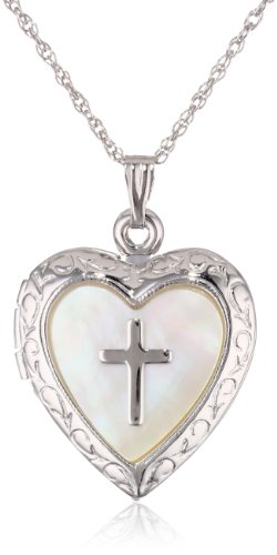 Sterling Silver Heart Cross  Locket Necklace 19.05''