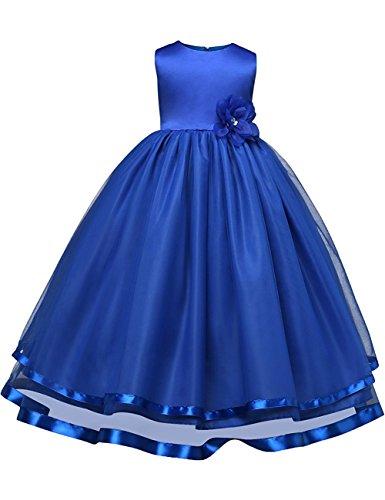 Flower Girl Dresses For Weddings Dresses Elegant First Communion Pageant Party Kids Sleeveless Long Dress Tea Length (Sapphire, 150)