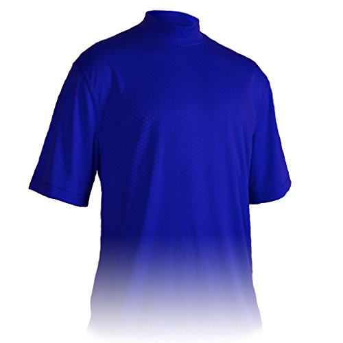 Monterey Club Mens Dry Swing Swiss Dot Texture Solid Mock Neck Shirt #3309 (Rich Blue, 2X-Large)