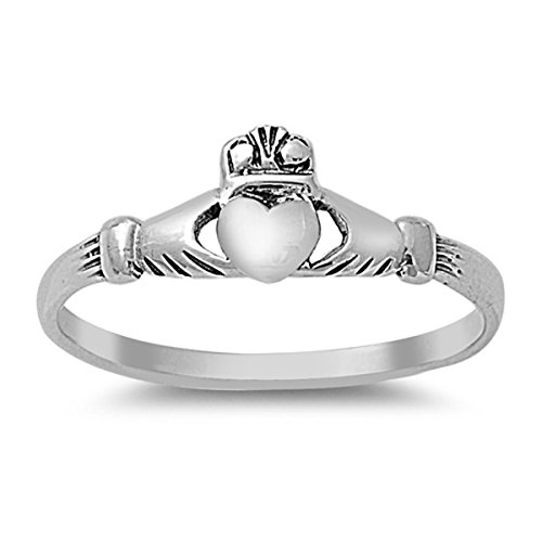 Sterling Silver Women's Friendship Claddagh Heart Ring (Sizes 1-10) (Ring Size 5) (Large Claddagh Ring)