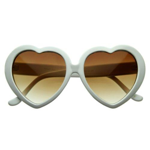 Large Oversized Womens Heart Shaped Sunglasses Cute Love Fashion Eyewear (White Amber)
