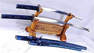 Baisho Katana+Wakizashi Japanese Sword Set Folded Steel Dragon Tsuba--Ryan1037