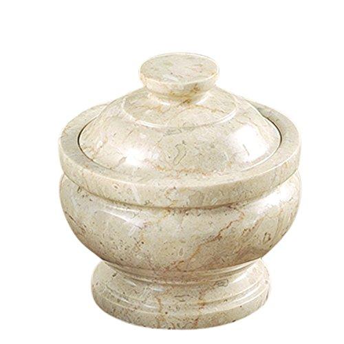 Creative Home 74524 Genuine Champagne Marble Stone Cotton Ball Holder