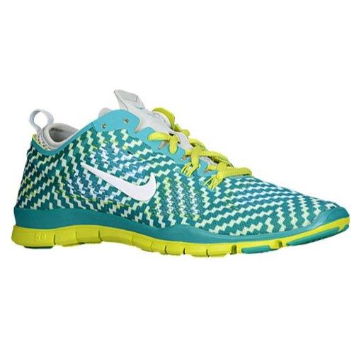 Nike Womens Gratis 5.0 Tr Fit 4 Prt Trb Grn / White / Vnm Grn / Pr Pltnm Trainingsschoen 11.5 Women Us