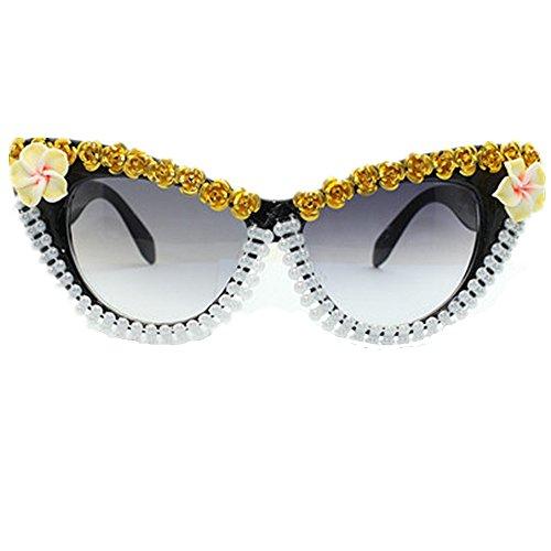 la la de mano de Ojos Rose gafas cadena arcilla la de Tonos moda de gafas gato de oro flor polímero sol de veran Hecho señora de vacaciones de protección para conducir de UV playa sol de a de perla de UwnZqd