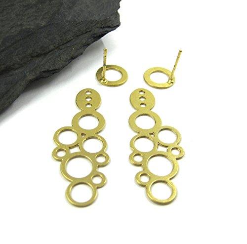 Geometric Bubble - Statement Ear Jackets, Plated Gold Handmade Bubble Studs, Geometric Large Front-Back Earrings