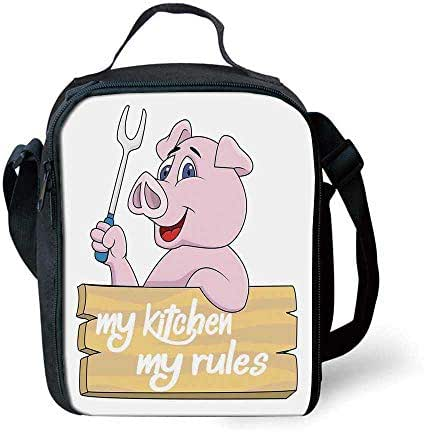 Kitchen Decor Stylish Lunch Bag,Pig Chef Holding BBQ Barbeque Fork Tongs Fast Food Mascot Character Grill Wood Menu for Children,7.4