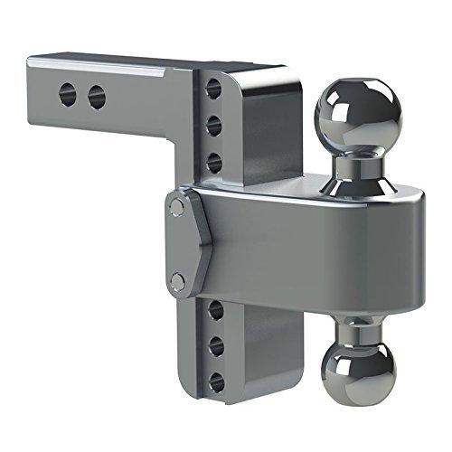 "Weigh Safe TB4-2, 4"" Drop 180 Hitch w/2"" Shank/Shaft, Adjustable Aluminum Trailer Hitch & Ball Mount, Stainless Steel Combo Ball (2"" & 2-5/16"")"