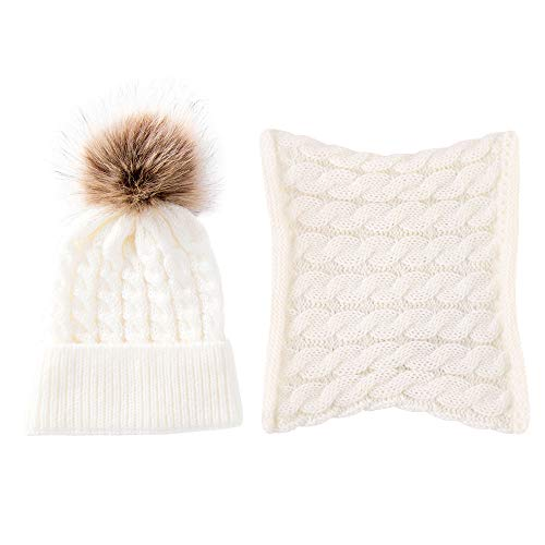 - 2Pack Toddler Baby Knit Hat Scarf Winter Warm Beanie Cap with Crochet Circle Loop Scarf Neckwarmer White