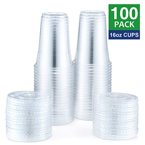 plastic 16 oz cups with lids - 5