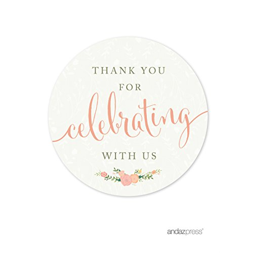 Andaz Press Floral Roses Girl Baby Shower Collection, Round Circle Label Stickers, Thank You for Celebrating with US!, 40-Pack