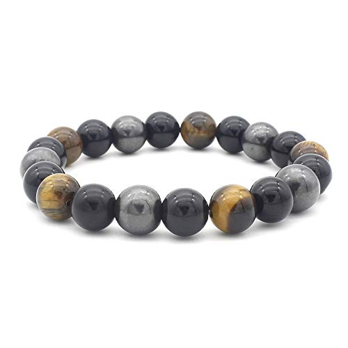 aSulis Men 10mm Magnetic Hematite Obsidian Tiger Eye Bracelet Elastic Natural Stone Yoga Beads Bracelet Bangle ()