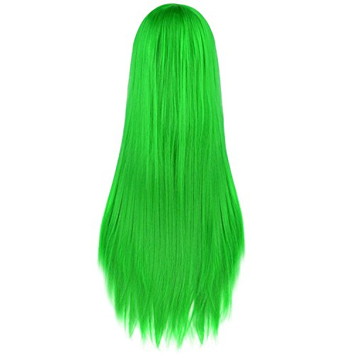 Top lime green wig with bangs