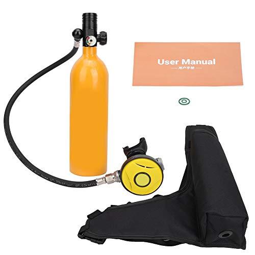 Portable Scuba Tank, Aviation Aluminum 1L Diving Oxygen Tank 360 Degree Rotate Interface Mini Scuba Cylinder Oxygen Tank Underwater Respirator Diving Oxygen Bottle Snorkeling Dive Equipment(Yellow)