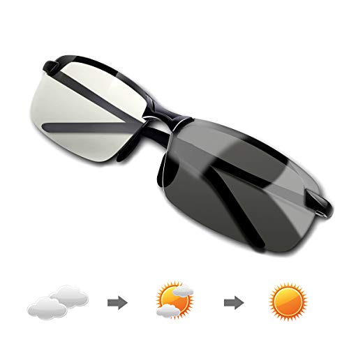 Men's Fashion Driving Polarized Photochromic Sunglasses For Day and Night Driving Fishing Golf Outdoor Sport,100% UV400 Protection