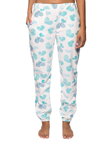 Women's Microfleece Jogger Lounge Pant - Scribbled Hearts White/Blue - Medium