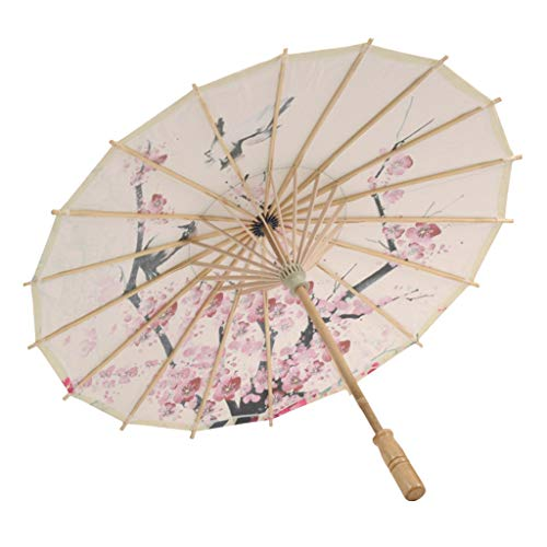 SOOTOP Umbrella,Rainproof Handmade Chinese Oiled Paper Umbrella Parasol Classical Style Decorative Chinese Silk Cloth Folding Sun Rain Multifunction Outdoor -