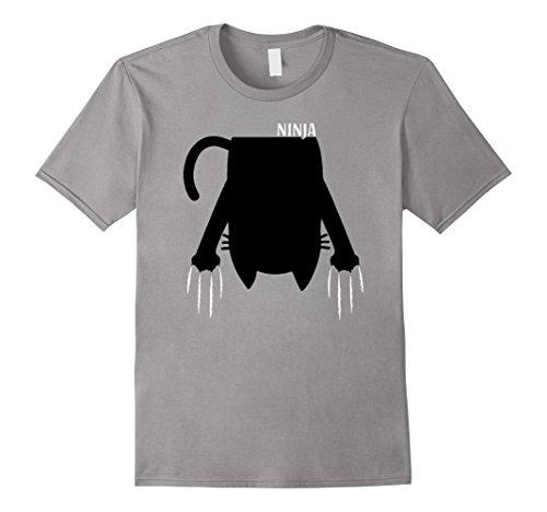 Ninja Cat Costume (Mens Ninja Cat Costume Funny Cute Halloween Shirt Gift Womens Kid XL Slate)