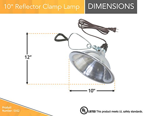 Woods 0162 18/2 SPT-2 Clamp Lamp with 10 Inch Reflector, 150 Watt, 6 Foot Cord by Woods (Image #1)