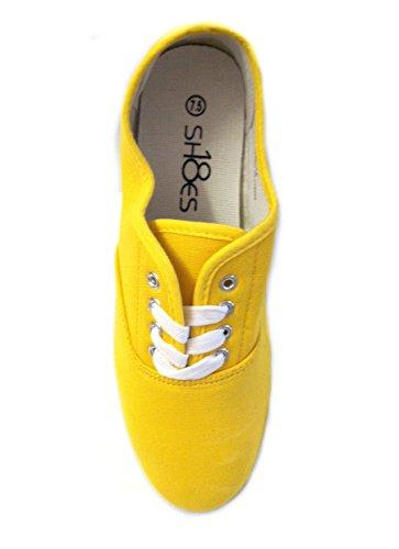Schoenen Klassieke 18 Schoenen Dames Veterschoenen Met Sneakers Geel 525