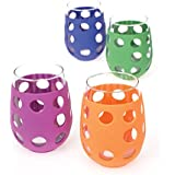 Lifefactory 17-Ounce BPA-Free Indoor/Outdoor Wine Glass with Protective Silicone Sleeve, Multi-Colored, Set of 4