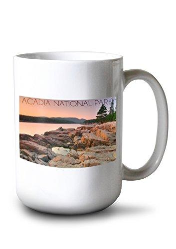 Lantern Press Acadia National Park, Maine - Rocks and Water (15oz White Ceramic Mug)