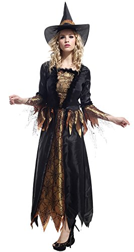[GIFT TOWER Womens Halloween Witch Costume Cosplay Gothic Witch Costumes] (Gothic Maiden Costumes)
