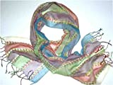 Pastel Mauve, Lime, Blue, Cherry, and Natural Handloom Rayon Scarf with Embroidered Striped Highlights, 14 inches X 64 inches
