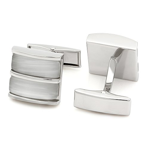 Kemstone Silver Plated Double Layered Opal Cufflinks