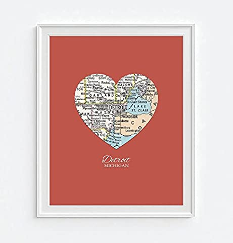Detroit Michigan Vintage Heart Map Art Print, UNFRAMED, Customized Colors, Wedding gift, Christmas gift, Engagement Anniversary Valentines day Housewarming gift, ALL - Michigan Antique Map