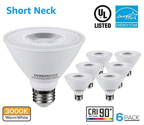 TORCHSTAR 6 Pack PAR30 Short Neck LED Flood Light Bulb, Dimmable, 12W 75W Equiv, High CRI90+, 3000K Warm White, 840Lm, E26 Medium Screw Base, Energy Star & UL Listed LED (White Par30 Track Light)