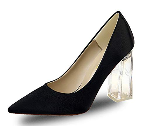 Womens Closed Pointed Toe Pumps High Chunky Clear Block Heel Dress Office Shoes Black Size US9 EU42