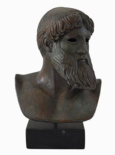 Estia Creations Zeus - Poseidon Ancient Greek God Sculpture Statue Bust with Bronze Color Effect - Museum Replica