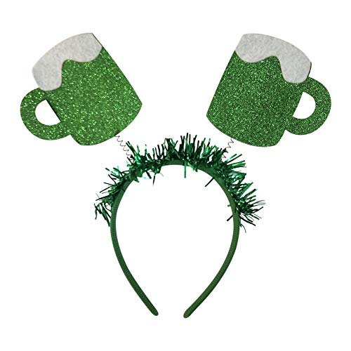Yotaini St. Patrick's Day Green Headband, Beer Mug Parent-Child Head Decor, Irish Holiday Head Hoop