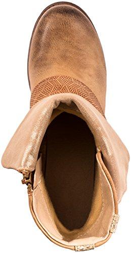 Rivets Motard Bottes Metallic Elara Camel Femmes London Bottines wxqOaxzgTU